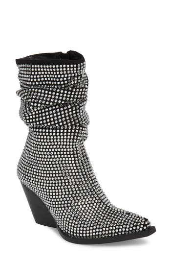 Jeffrey Campbell Controll Crystal Studded Slouch Boot, Black