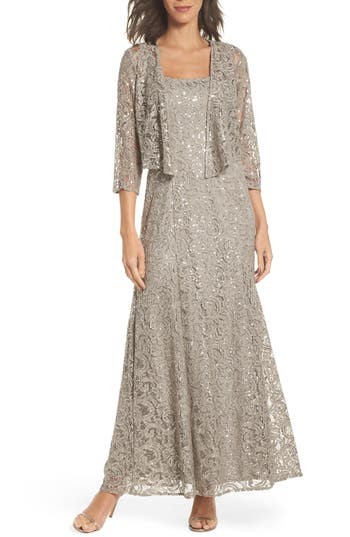 Women's Alex Evenings Sequin Lace Jacket Gown, Size 6 - Grey