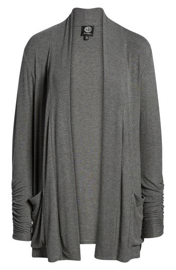 Women's Bobeau Ruched Sleeve Cardigan, Size XX-Small - Grey