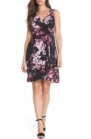 Adrianna Papell Floral Print Twist Front Dress, Black
