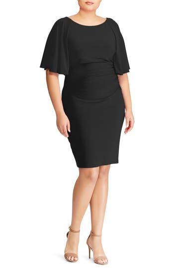 plus size women's lauren ralph lauren jessup body-con dress, size 14w - black