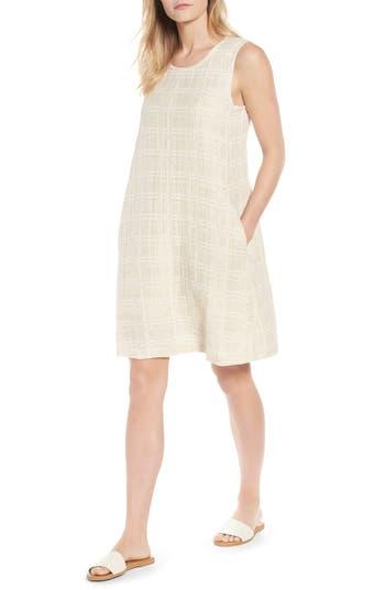 Eileen Fisher Organic Cotton & Linen Shift Dress, Beige