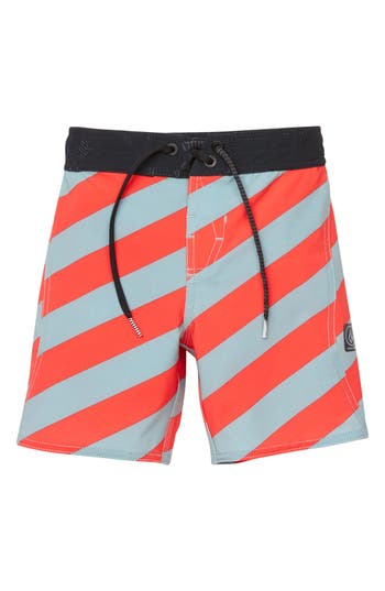 Boys Volcom Stripey Board Shorts Size 5  Grey