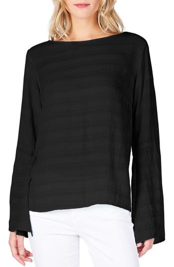 Michael Stars Slit Bell Sleeve Top, Black