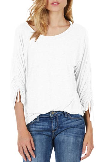 Michael Stars Ruched Sleeve Tee, Size One Size - White