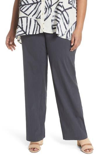 Plus Size Nic+Zoe Traveling Linen Blend Stretch Pants, Grey