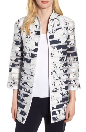 Ming Wang Floral Stripe Jacket, White