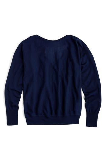 J.crew Dolman Merino Wool V-Back Sweater, Blue