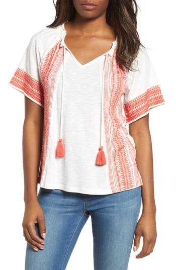 Womens Caslon Embroidered Border Peasant Top Size XSmall  Ivory