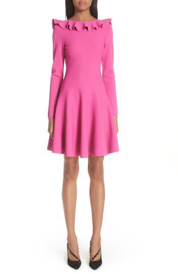 Valentino Ruffle Neck Knit Dress, Pink