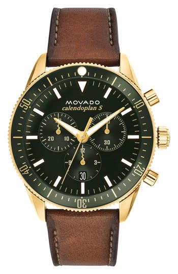 Movado Heritage Chrono Leather Strap Watch, 42mm
