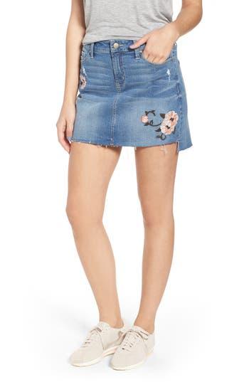 Tinsel Embroidered Step Hem Denim Skirt, Blue
