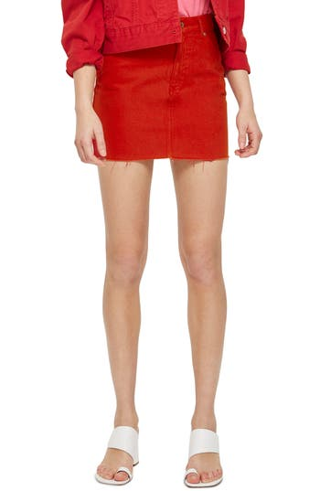 Topshop Fray Hem Miniskirt, US (fits like 0) - Red