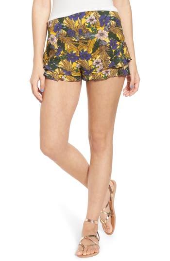 Womens Lost  Wander Isla Print Ruffle Shorts Size XSmall  Yellow