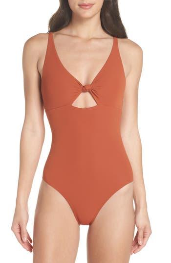 Tory Burch Palma One-Piece Swimsuit, Brown