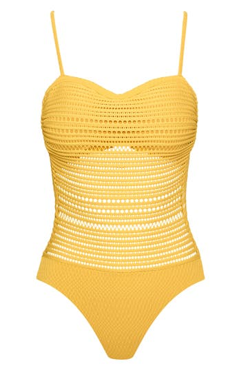 Robin Piccone Perla Badeau One-Piece Swimsuit, Yellow