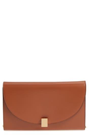 Victoria Beckham Half Moon Calfskin Leather Wallet On A Chain - Brown