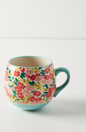 anthropologie painted poppies mug, size one size - red