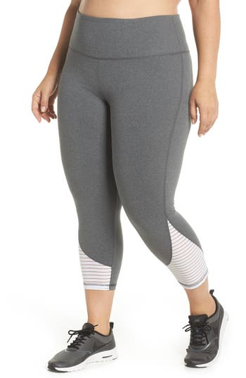 Plus Size Marika Curves Addison Capri Leggings, Grey