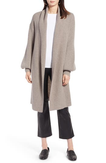 Halogen® Blouson Sleeve Long Cashmere Cardigan