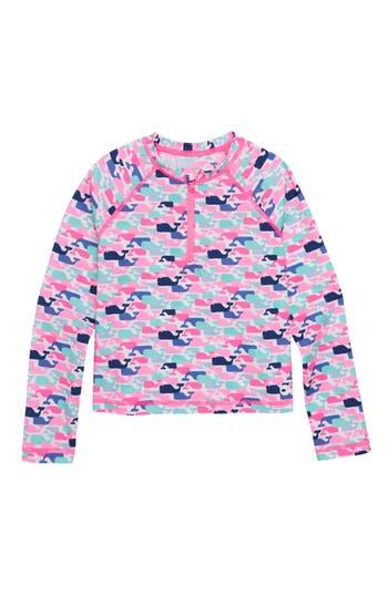 Girls Vineyard Vines Whale Pattern Long Sleeve Rashguard