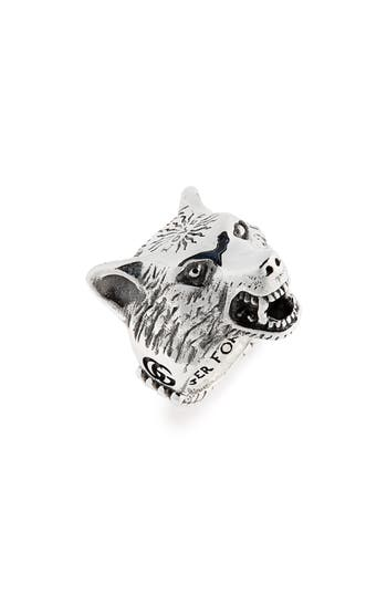 Gucci Wolf Head Sterling Silver Ring