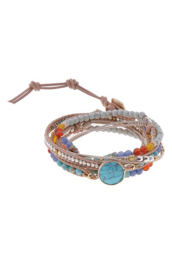 Nakamol Design Beaded Stone Wrap Bracelet