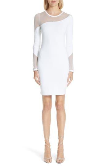Cushnie et Ochs White River Sheer Panel Knit Dress