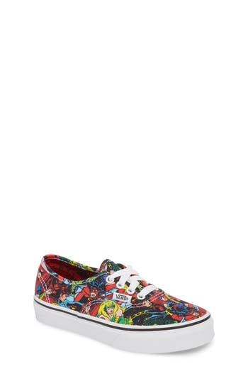 Boys Vans X Marvel Authentic Low Top Sneaker Size 4 M  Red