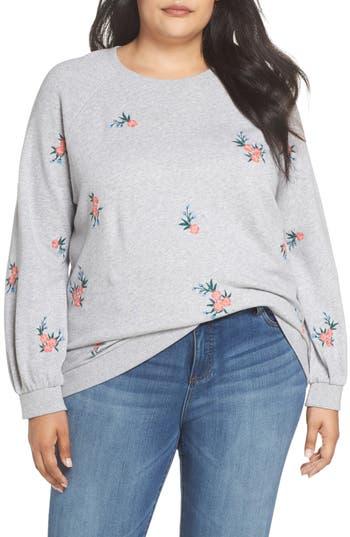 Caslon® Embroidered Cotton Sweatshirt
