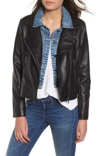 BLANKNYC The Cool Kid Faux Leather Moto Jacket
