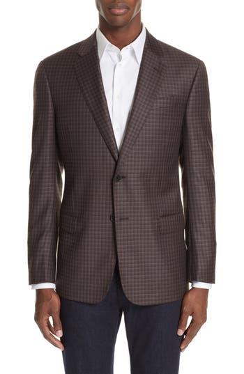 Men's Emporio Armani G-Line Trim Fit Plaid Wool Sport Coat, Size 38 US / 48 EUR - Red
