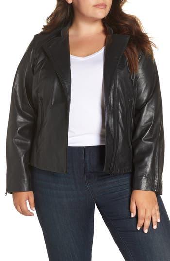 Halogen® Zip Racer Leather Jacket