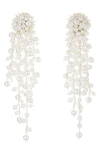 Oscar de la Renta Flower Chain Shoulder Duster Clip Earrings