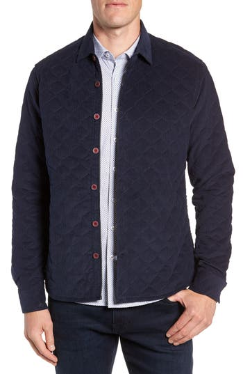 Men's Stone Rose Trim Fit Quilted Shirt Jacket, Size X-Small - Blue
