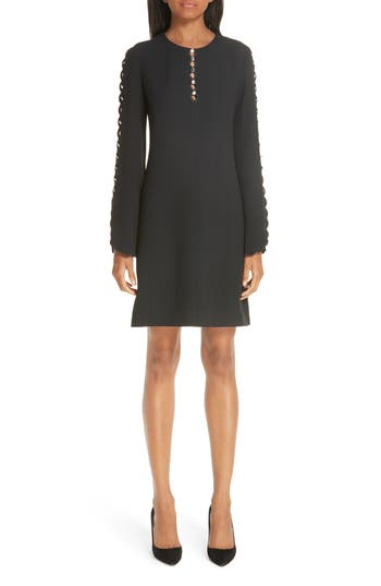 Michael Kors Scallop Button Detail Double Crepe Sable Shift Dress