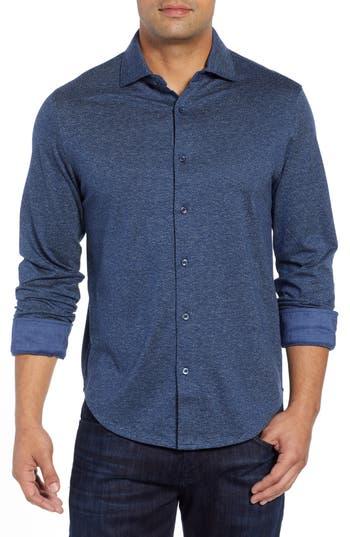 Men's Bugatchi Regular Fit Knit Sport Shirt, Size Small - Blue