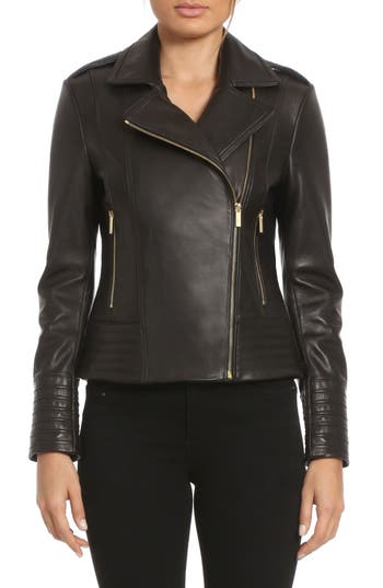 Badgley Mischka Gia Leather Biker Jacket
