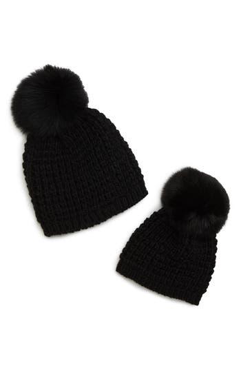 Kyi Kyi Mom & Me Knit Hats with Genuine Fox Fur Poms Set