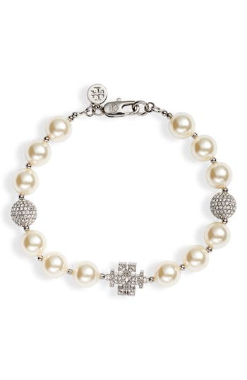 Tory Burch Pavé Crystal Charm & Imitation Pearl Bracelet