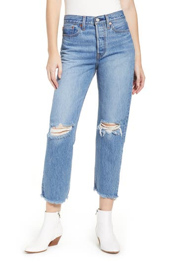 Levi's® Wedgie High Waist Ripped Crop Straight Leg Jeans