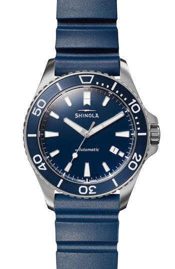 Shinola Monster Automatic Rubber Strap Watch, 43mm