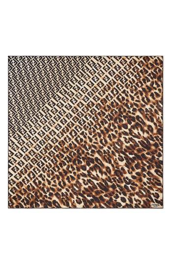 Fendi Logo & Leopard Print Silk Scarf