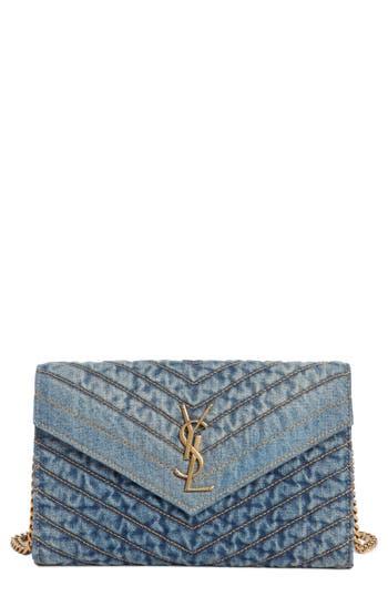 Saint Laurent Matelassé Denim Wallet on a Chain