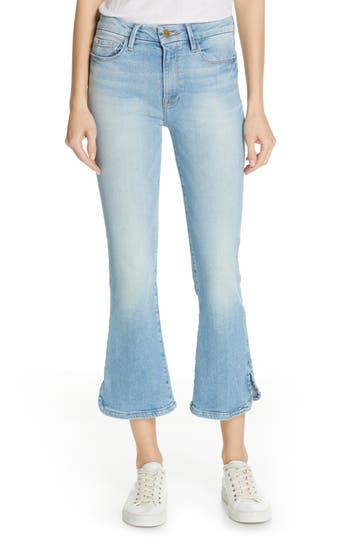 FRAME High Waist Curve Hem Crop Bootcut Jeans (Apollo)