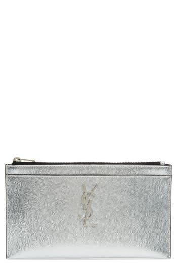Saint Laurent Metallic Leather Pouch