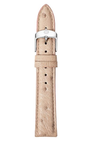 MICHELE 18mm Ostrich Leather Watch Strap
