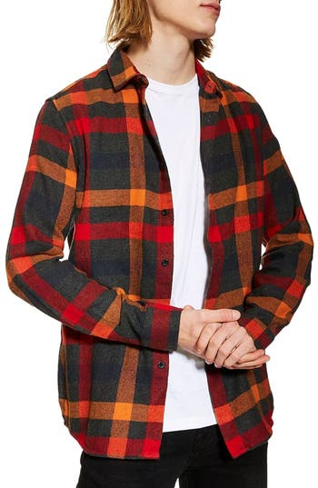 Topman Slim Fit Check Flannel Shirt