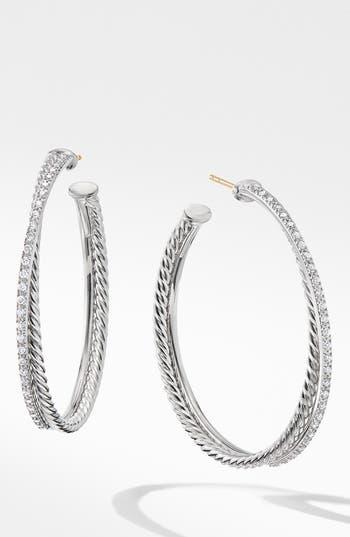 David Yurman Extra Large Crossover Hoop Earrings with Diamonds