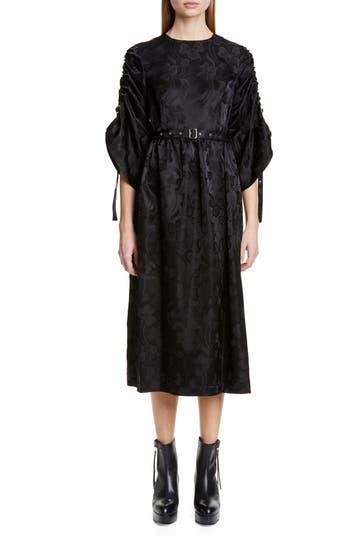 noir kei ninomiya Belted Floral Jacquard Midi Dress